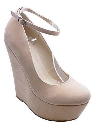 Wedge High Court Platform 8 Heel 3 Nude Slip Shoes Party Ladies Sizes Pumps On U0wYqIct