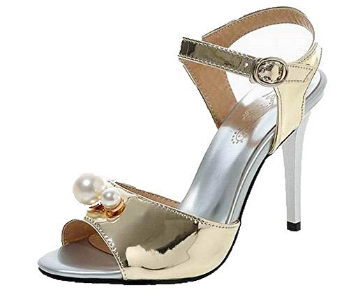 VogueZone009 Women Pu Buckle Open-Toe High-Heels Solid Sandals, CCALP015363 Gold