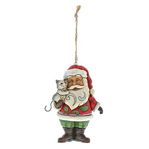 Enesco Jim Shore Heartwood Creek Mini Santa with Cat Stone Resin, 4.5
