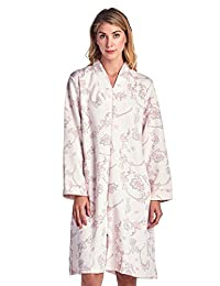 Casual Nights Women's Floral Print Zipper Front Quilted Robe