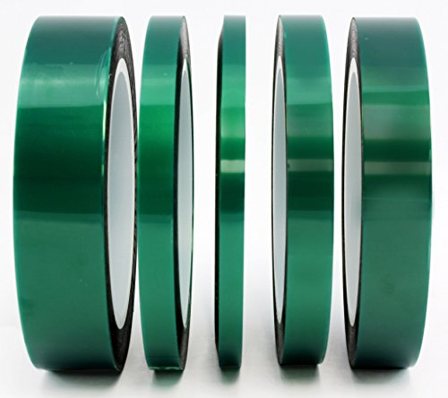 5-Pack-Green-Polyester-Hi-Temp-Masking-Tape-Multi-Sized-Value-Bundle-14-13-12-34-1-Tape-with-Silicone-Adhesive-Ideal-for-Painting-Powder-Coating-Anodizing-Applications