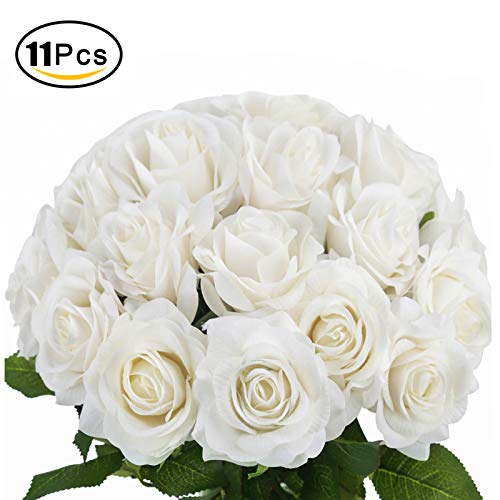 Bomarolan Fake Rose Silk Artificial Velvet Flowers Real Touch Blossom Bridal Bouquet for Home Wedding Birthday Party Home Décor 11 ()