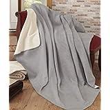 "Ottomanson Bed Blankets, Bedspread, Plush Cotton Throw, Soft Cotton Cozy Fleece Blanket, 50"" L x 65"" W, Gray & Ivory Reversible"