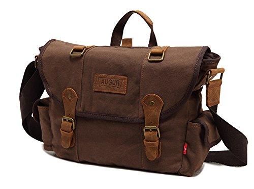 Satchel Escuela Mochila Hombres Mujeres Vintage Canvas Backpack Senderismo Bolsa Casual Bolsa de viaje Bookbag Ipad Bolsa (khaki, 40*11*38cm) coffee