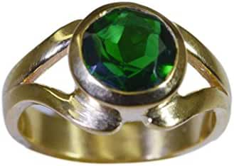 drop-dead Emerald CZ Gold Plated Green Ring supplies L-1in US