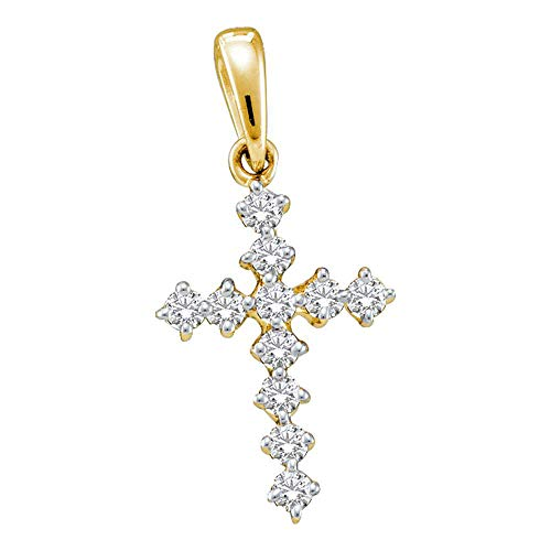 Jewels By Lux 14kt Yellow Gold Womens Round Diamond Cross Faith Pendant 1/10 Cttw In Prong Setting (I1-I2 clarity; H-I color)