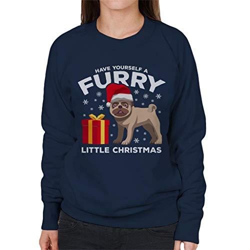 Christmas Women's Sweatshirt Little Blue Navy A Coto7 Furry Dog Yourself Have qwX808Ra