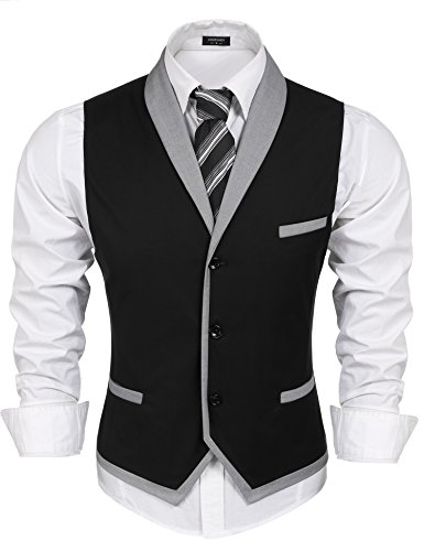 Coofandy Men's V-neck Sleeveless Slim Fit ,Jacket Business Suit Dress Vest, Black, X-Large(Chest: 47.2'')