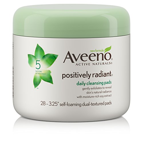 Aveeno Positively Radiant Exfoliating Daily Cleansing Pads, 28 Count, (Pack of 3)
