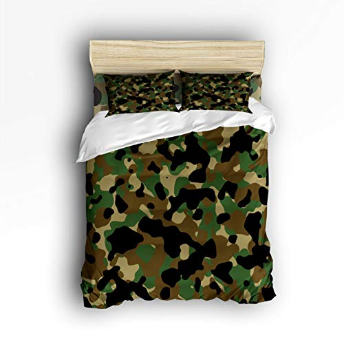 Camouflage Pattern 3 Piece Quilt Bedding Sets Twin Size, Geo Camo Army Military Green Duvet Cover Set Decorative Bedspread for Hunters Teens Boys and Girls ()