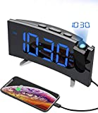 PICTEK Projection Alarm Clock, 15 FM Radio Alarm Clock, 5'' Large Curved LED Display, 6 Dimmer, Dual Alarm with 4 Alarm Sounds, Digital Clock for Bedrooms Ceiling, USB Phone Charger, Snooze (2.Blue)