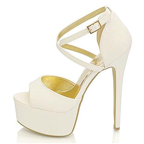 Damen Open Toe Plateau Stiletto High Heel Pumps Schluepfen Knoechel Cross Strap Buckle Party Schuhe Nubuk-Weiß