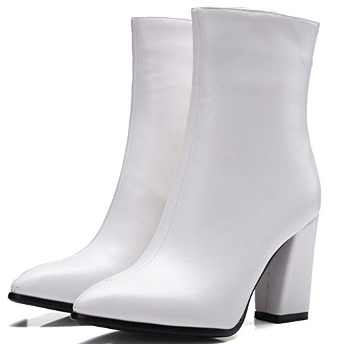 COOLCEPT Women's Fashion Block High Heel Ankle Boots Shoes White KYemCQF