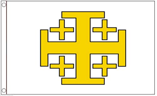 Jerusalem Flag - Jerusalem Cross Knights Templar Christian Crusader Kingdom Flag 5'x3' (150cm x 90cm) - Woven Polyester