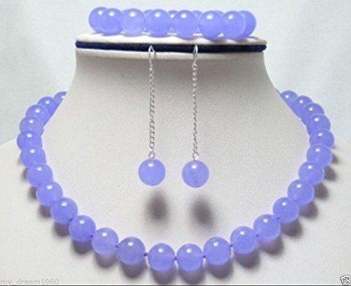(FidgetFidget Natural 10mm Purple Lavender Jade Gemstone Beads Necklace Bracelet Earrings Set)