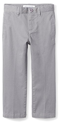 Amazon Essentials Toddler Boys' Straight Leg Flat Front Uniform Chino Pant, Gray, 2T