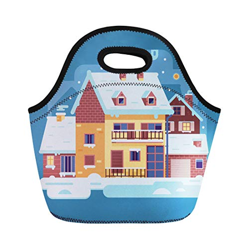 - Semtomn Neoprene Lunch Tote Bag Snowy Scene Country Winter Home Smoking Chimney on Village Reusable Cooler Bags Insulated Thermal Picnic Handbag for Travel,School,Outdoors, Work