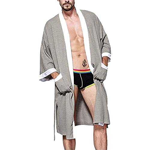 cbf169456b OGOUGUAN Colour-Store Men s Waffle Kimono Robe Cotton Lightweight  Nightgowns Spa Terry Cloth Bathrobe Sleepwear