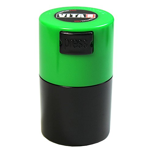 Vitavac - 5g to 20 grams Airtight Multi-Use Vacuum Seal Portable Storage Container for Dry Goods, Food, and Herbs - Green Cap & Black Body