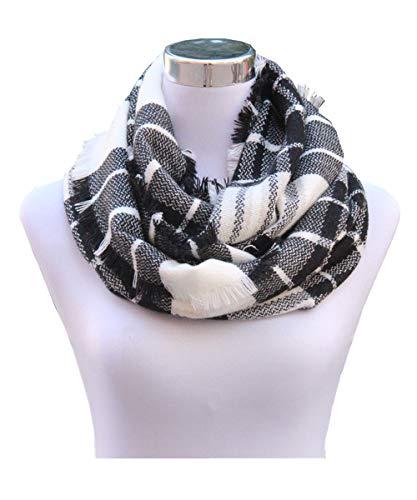 Scarf White Black (Lucky Leaf Women Girls Cozy Warm Thick Tartan Check Pattern Circle Loop Scarves (Black White Plaid))