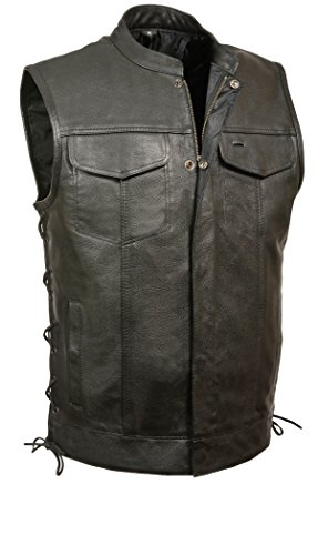 Milwaukee Leather Men's Scooter Collar Vest with Zip and Side Lace (Black, X-Large)