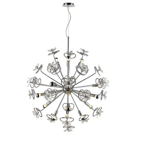 Golden Lighting C354-15-CH Flora - Fifteen Light Pendant, Chrome Finish with Clear Flowers Crystal