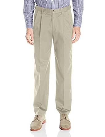 Savane Men's Big and Tall Pleated Ultimate Performance Chino, Alabaster, 36x36