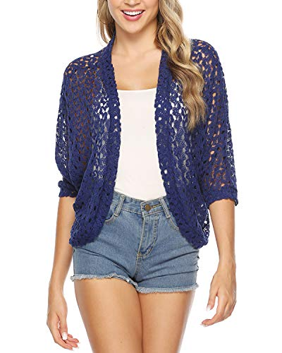 Open Front Lace - Hawiton Women's 3/4 Sleeve Shrug Lace Crochet Open Front Cardigan Bolero Jackets Navy Blue