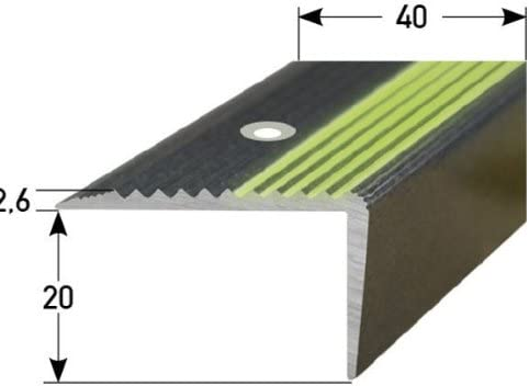 Perfil de escalera (20 mm x 40 mm) aluminio, fotoluminiscente, perforado, verde: Amazon.es: Hogar