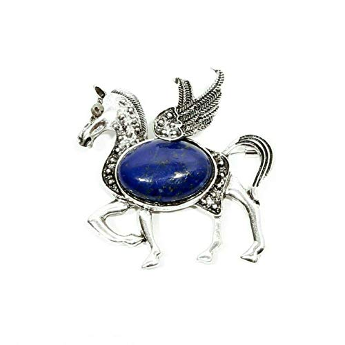 - Sunrise Jewels Women's Lapis Lazuli Gemstone Silver Plated Horse Design Brooch Pin Jewelry