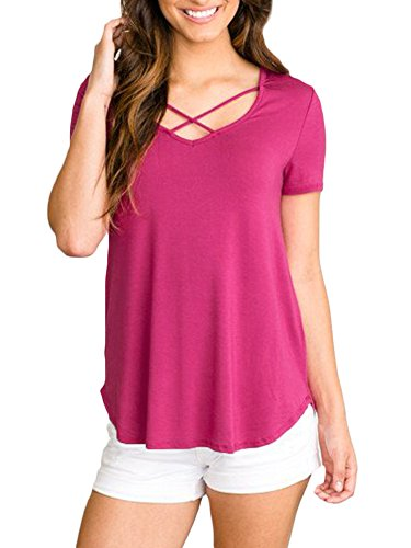 Women Summer Criss Cross Sexy V Neck Tee Shirts Short Sleeve Bandage Solid Color Tunic Tops Pink - Cross Cotton