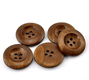 PEPPERLONELY Brand 50PC Coffee 4 Hole Round Wood Buttons Scrapbooking Sewing Buttons 25mm (1 Inch)