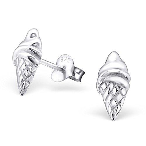925 Sterling Silver Ice Cream Cone Ear Studs 22940