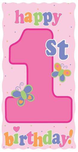 Creative Converting Party Decoration Diecut Sign, Fun at One 1st Birthday Girl Fairy Princess Birthday Invitations