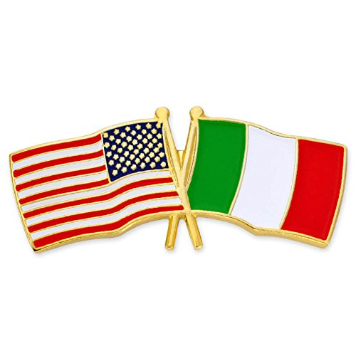 PinMart's USA and Italy Crossed Friendship Flag Enamel Lapel Pin by PinMart