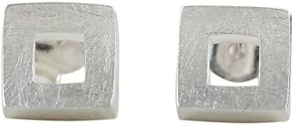 NOVICA .925 Sterling Silver Drop Earrings, 'Square Portals'