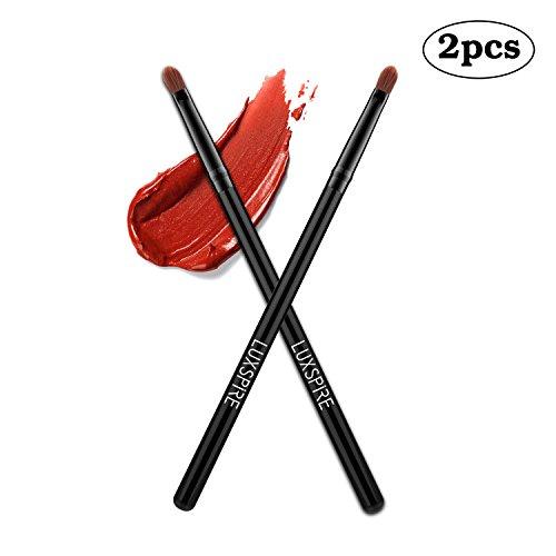 Lip Brush (Luxspire 2PCS Professional Lip Brushes Lipstick Lip Wands Gloss Applicators Makeup Lip Liner Brush Cosmetics Make Up Tools, Black)