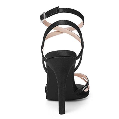 Sandali K Incrociato alla Caviglia Allegra US Nero 5 Strass Donne Stiletto Cinturino BRCxw4q