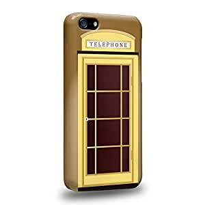 Case88 Premium Designs Art Brown Telephone Booth Carcasa/Funda dura para el Apple iPhone 5c