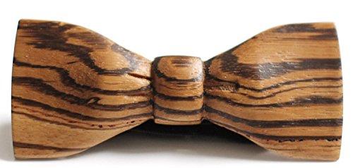 Slim Timber Men's Wood Bow Tie (Zebrawood) - Veneer Bow