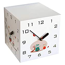 Serendipity Three Sided Analog Wall Clock, Battery Operated, 7.2, Cute Owls, White, Small