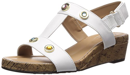 (Soft Style by Hush Puppies Women's Oralee Wedge Sandal White Vitello 08.5 M)