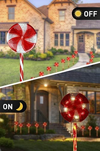 EAMBRITE 3PK 24Inches 48LT Lollipops Peppermint Pathway Markers with 8 Modes Christmas Lollipops Pathway Lights Decorations for Outdoor Yard