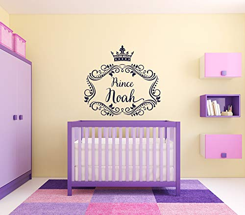 Wall Sticker Noah Boy Name Prince Crown Phrase Kids Room Vinyl Mural Decal Art Decor EH4478