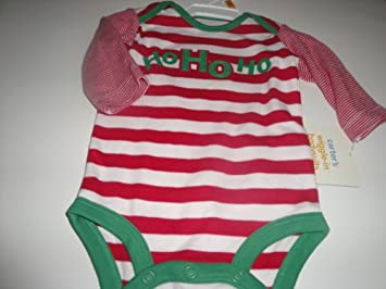 Carter s Wiggle-In Bodysuits Baby Girl Christmas Theme Red   White Striped  Ho Ho Ho 49ce93cac