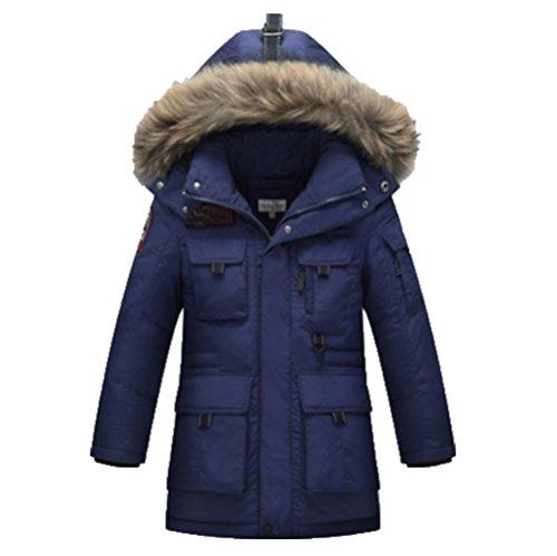 Ohmais Unisex Jungen Mädchen Winter Down Jacket verdickte Winterjacke Jungen Mantel verdickte Trenchcoat Jungen Outerwear mit Kapuzen Marine 8DDIW7Q