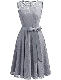 Womens Floral Lace Dress Short Bridesmaid Dresses with Sheer Neckline