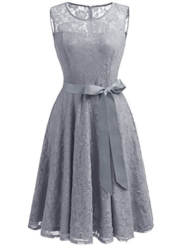 Dressystar 0009 Floral Lace Dress Short Bridesmaid Dresses with Sheer Neckline XS Grey]()