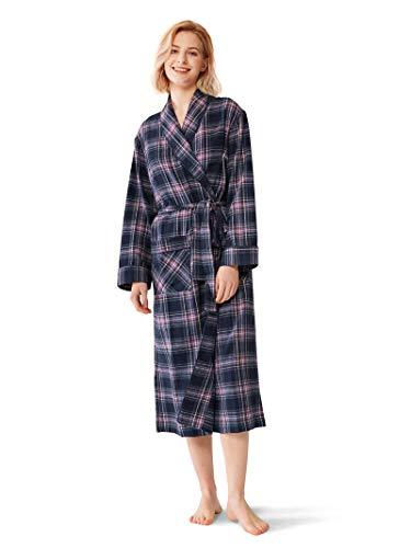 SIORO Robes for Women 100% Cotton Plaid Bath Robe Soft Flannel Bathrobe Sleepwear for Bath Shower Lounging,Purple S (Flannel Hospital Gowns)