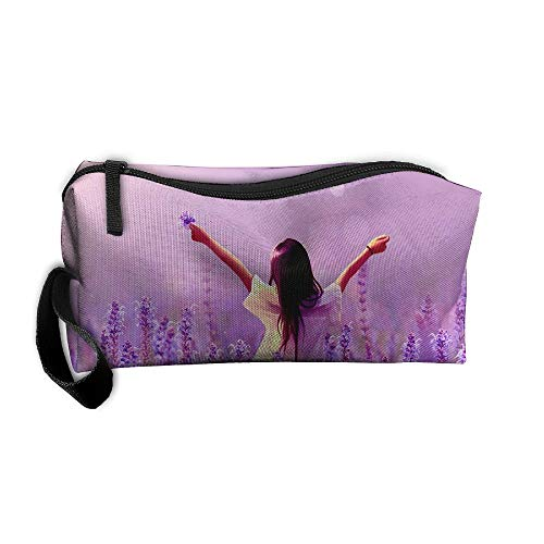 Mr.Roadman Coin Pouch Girl in Lavender Fields Pencil Holder Clutch Wristlet Wallets Purse Portable Storage Case Zipper Makeup Cosmetic Bags ()